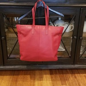 Express dark red leather tote